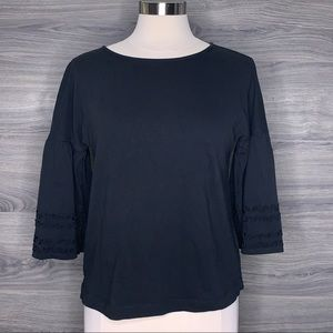 Vineyard Vines Bell Sleeve Black Top Size Small
